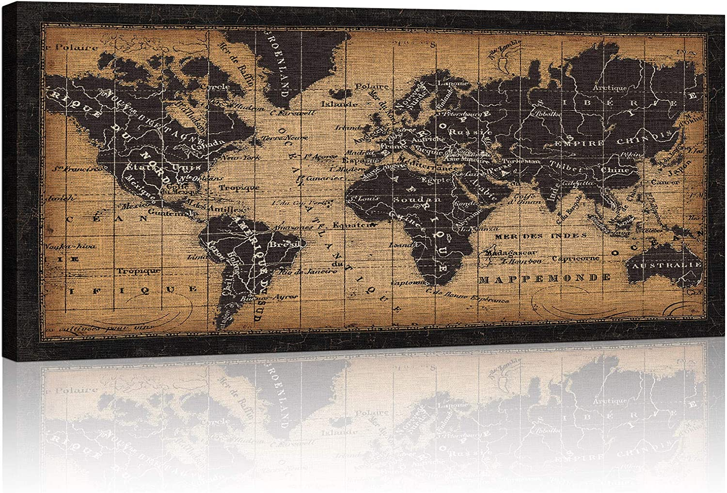ATOBART World Map Canvas Art Wall - latest Don't miss the campaign Antique Classi Vintage Decor