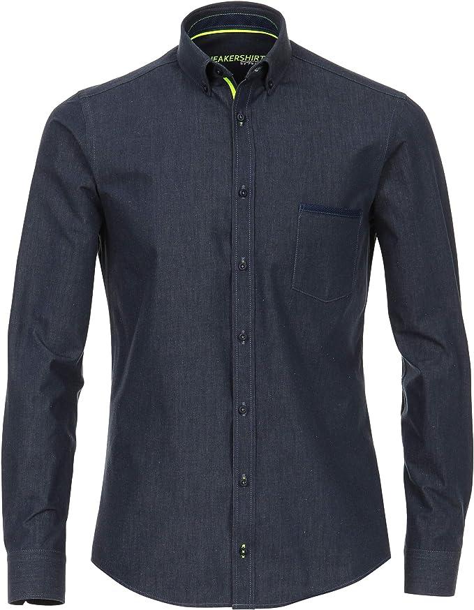 stretch Button Down Venti sneakershirt Slim Fit Chemise bleu Avec Camouflage Print