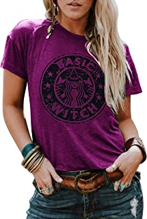 LANMERTREE Women Funny T Shirt Basic Witch Letter Print Tees Short Sleeve O-Neck Casual Tops Blouse