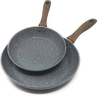 Frying Pan Set by OLINDA 2 Piece set 8 inch and 10.5 inch INDUCTION BASE Forged Body Soft Touch Handles STONE NON STICK COATING