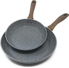 Frying Pan Set by OLINDA 2 Piece set 8 inch and 10.5 inch INDUCTION READY Forged Body Soft Touch Handles prevent Slipping STONE NON STICK COATING, USA - 2 PC FRYPAN SETS (Marble Grey)