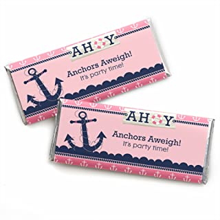 Ahoy - Nautical Girl - Candy Bar Wrappers Baby Shower or Birthday Party Favors - Set of 24