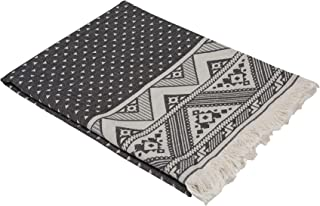 InfuseZen Thin Turkish Towel with Reversible Aztec Design, Decorative Peshtemal for The Bath or Beach, Fouta Hammam Towel with Inverse Colors on Backside, Triangle Geometric Pattern (Black White)