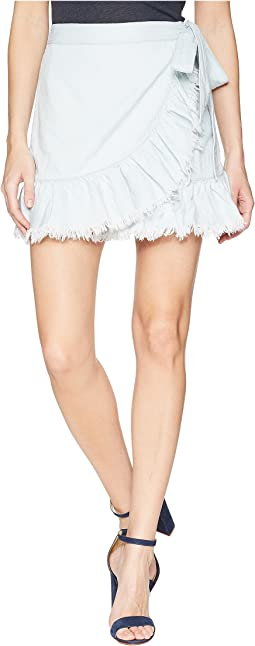 Hi Rise Ruffle Mini Skirt in Cloud Cover
