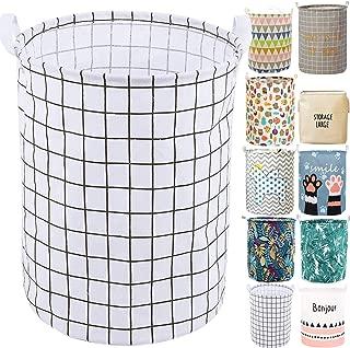"YOMFUN 19.7"" Foldable Laundry Hamper Bucket, Fabric Waterproof Organizer Basket for Laundry Hamper,Toy Bins,Gift Baskets, Bedroom,Clothes,Baby Nursery (White Grid,L)"