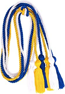 Whaline 3Pcs Graduation Honor Cords, Rayon Braided Honor Cords with Tassels for Grad Days and Graduates Photography (Royal Blue, Gold, White)