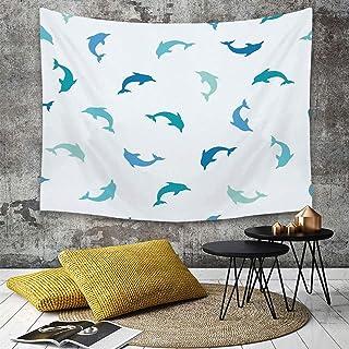 حيوانات البحر الديكور ، القفز واللعب شخصيات الدلافين المائية المائية البحرية موضوع ، Turqoise الأزرق الداكن ،