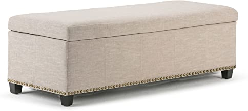 Simpli Home 3AXCOT-240-NL Kingsley 48 inch Wide Transitional Rectangle Large Storage Ottoman in Natural Linen Look Fabric