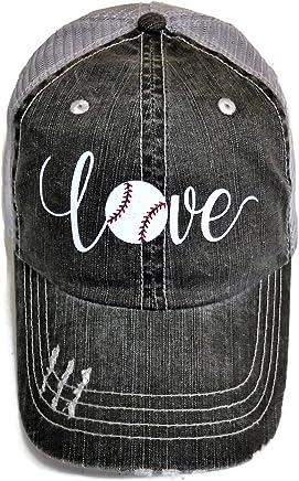 White Glitter Baseball Love Distressed Look Grey Trucker Cap Hat Sports