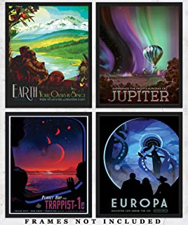 NASA Poster Space Tourism Wall Art Prints: Unique Room Decor for Boys, Men, Girls & Women - Set of Four (8x10) Unframed Pictures - Great Gift Idea for Space and NASA Fans!