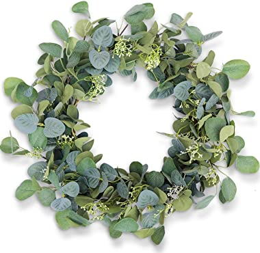 """Eucalyptus Wreaths for Front Door 20"""", Handmade Green Leaves Wreath for Summer, Spring and All Seasons, Greenery Floral W"""