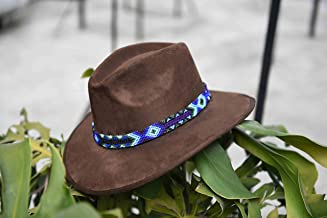 Sombrero de Gamuza artesanal café L con arte azul