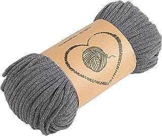 Baumwollkordel Kordel Baumwolle grau makramee garn 5mm - Baumwollgarn baumwollschnur baumwollseil kordelband mit Polyester-Kern 50M farbig
