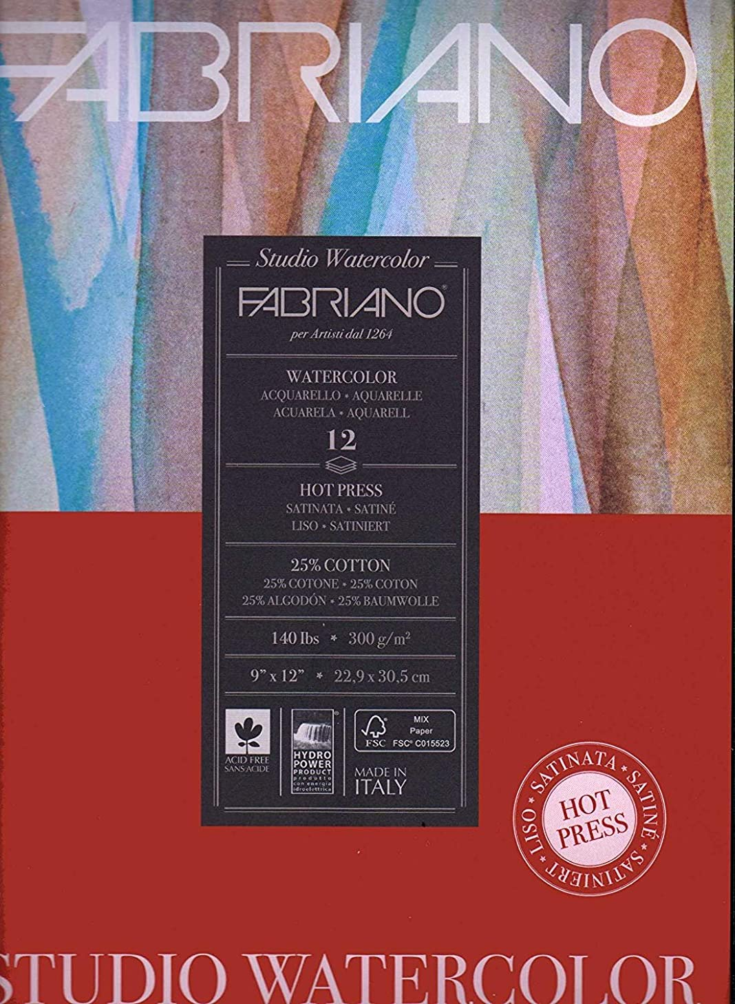 Fabriano Studio Watercolor Paper Pad 9X12 HP 300GSM 140 LB (2 Pack)