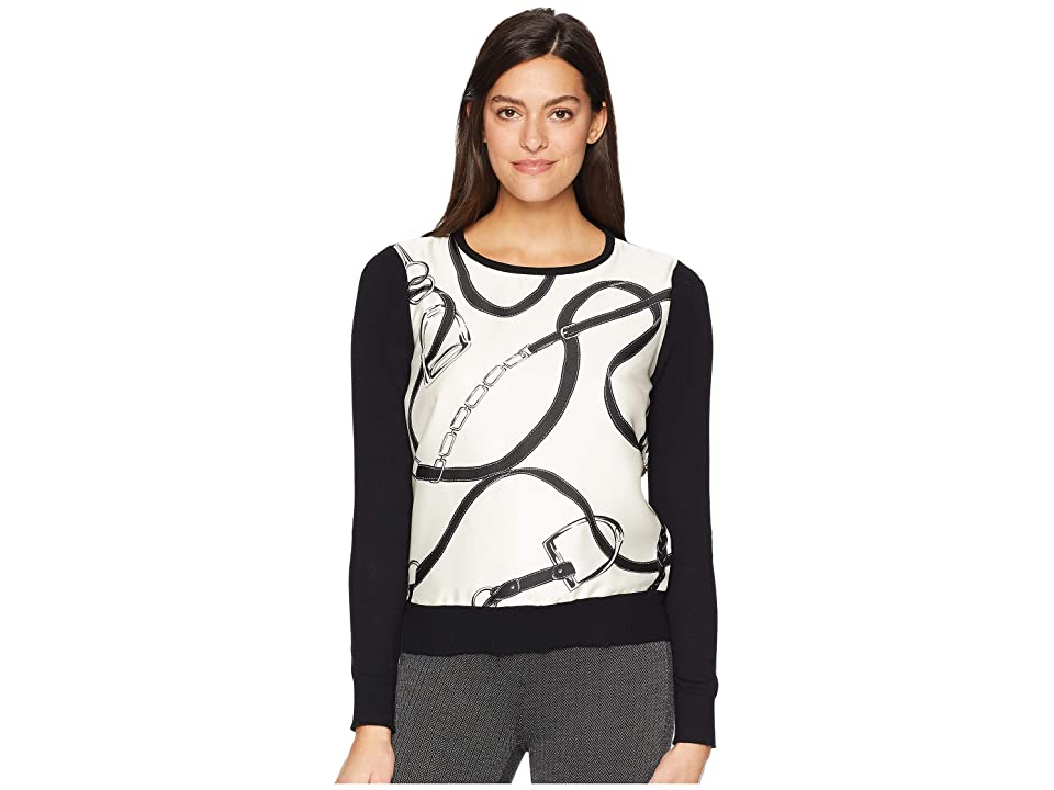 LAUREN Ralph Lauren Vasinto Long Sleeve Sweater (Polo Black/Multi) Women