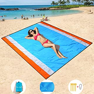 "Mumu Sugar Sand Free Beach Mat Oversized 82"" X79"" Sand Proof Beach Blanket Outdoor Picnic Mat for Travel, Camping, Hiking and Music Festivals-Lightweight Quick Drying Heat Resistant"
