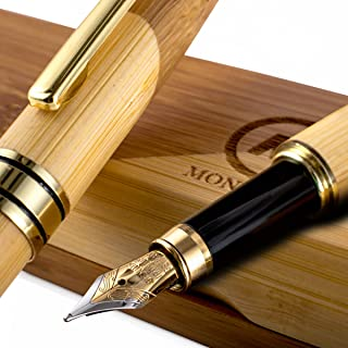 Gorgeous Bamboo Fountain Pen made of Luxury Wood with Refillable Converter, Beautiful Case Set and Medium Nib Point. Works Smoothly with International Disposable Cartridges. Fine Calligraphy Pens!