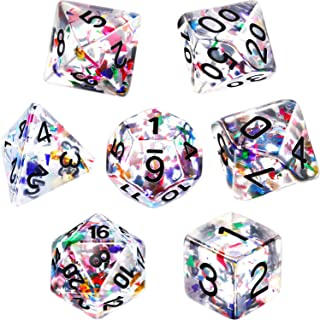 Polyhedral 7-Die Dice Set for Dungeons and Dragons with Black Pouch (Transparent Multicolor)