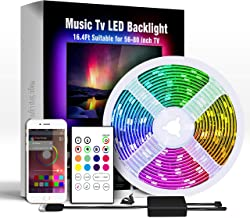 Miume Music tv Led Backlight with16.4ft LED Strip Lights for 32-75 inch TV,RGB USB Powered TV Led Backlight with APP and R...