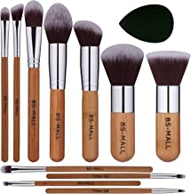 BS-MALL Makeup Brush Set 11Pcs Premium Synthetic Kabuki Brush Set Foundation Powder Blending Concealer Eye shadows Blush Cosmetics Brushes with Organizer Bag & Makeup Sponge