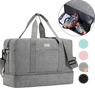 HOKEMP Gym Bag for Women Men with Shoes Compartment, Swim Bag Travel Tote Luggage Shoulder Bag 5 Color Choice