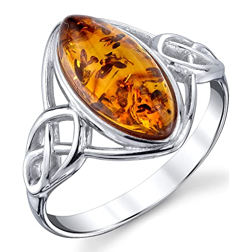 90cdf3478 Sterling Silver Baltic Amber Celtic Design Ring with Cognac Color Marquise  Shape Center Sizes 5 to
