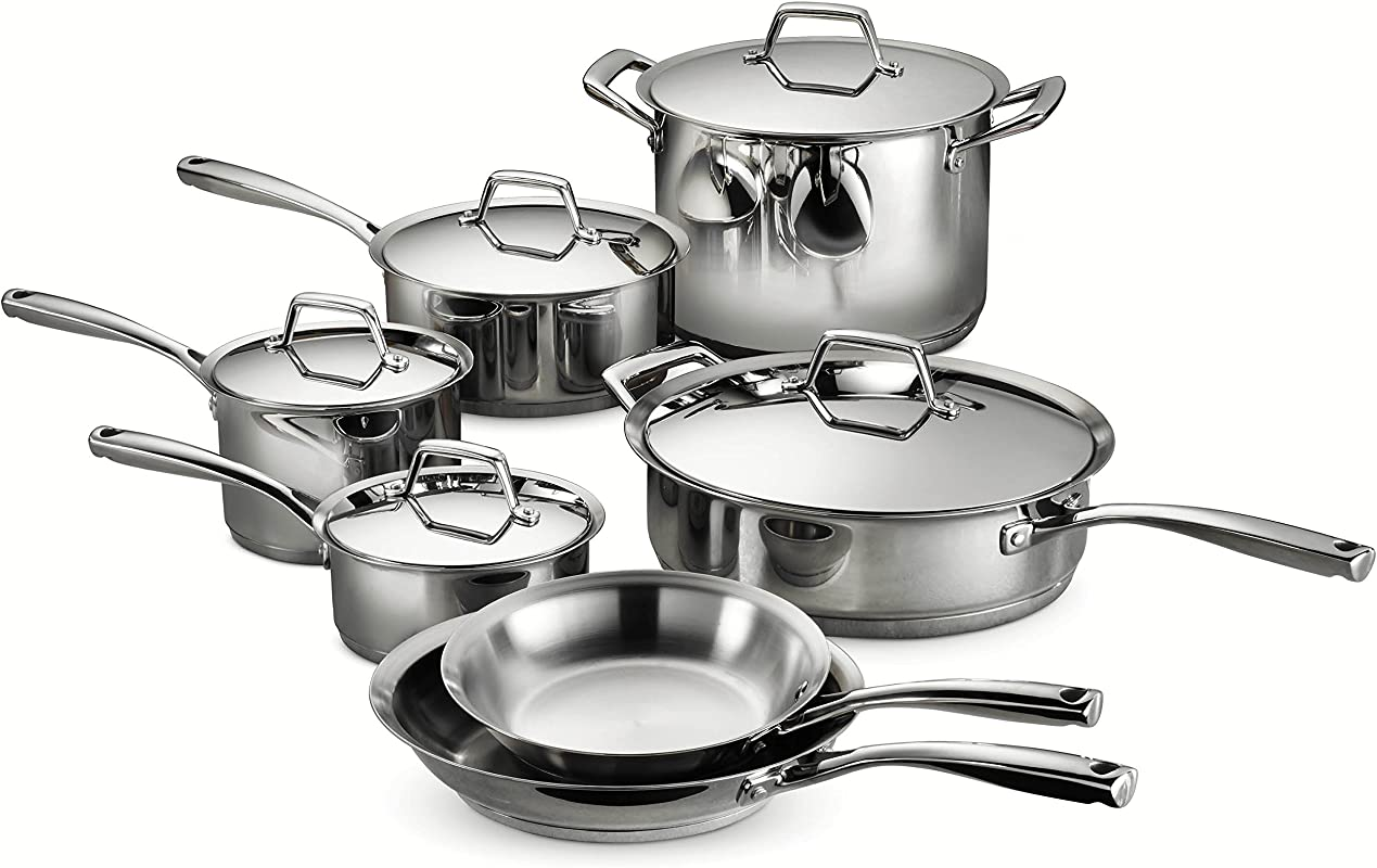 Tramontina 80101 203DS Gourmet Prima Stainless Steel Induction Ready Impact Bonded Tri Ply Base Cookware Set 12 Piece Made In Brazil