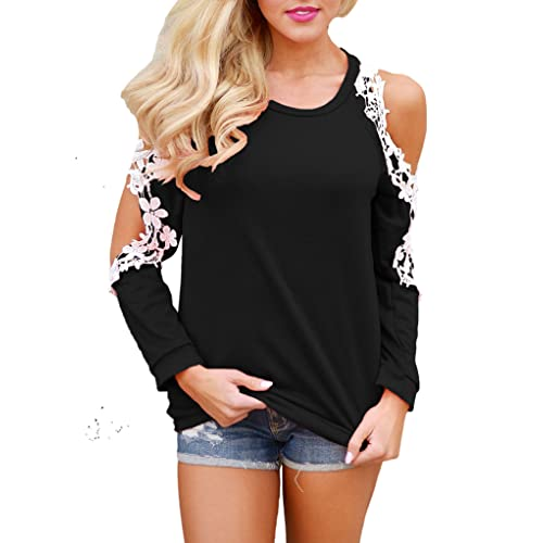 3941647a95c Sidefeel Women Floral Lace Crochet Cold Shoulder Long Sleeve Blouse Tops