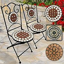 Struttura in Acciaio 2 Sedie Set Rotondo o Quadrato Giardino Jago Tavolo e Sedie Mosaico Set Mobili da Esterno in Ceramica Tavolino e Sedie da Balcone Modello a Scelta