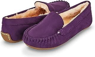 Womens Indoor/Outdoor Faux Fur Lined Basic Moccasins Slipper W/Memory Foam (6, Purple-323)