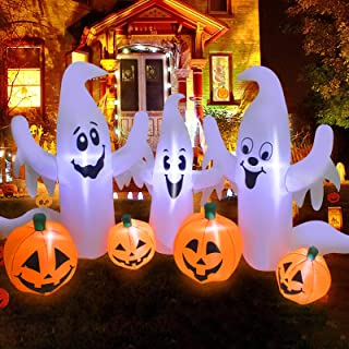 UMARDOO Halloween Inflatable Decorations,8FT Long Inflatable Pumpkin & Ghost,Blow Up Inflatables with LED Lights for Hallo...