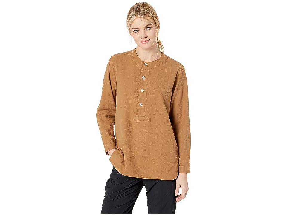 Snow Peak Cotton/Wool Flannel Sleeping Shirt (Brown) Women
