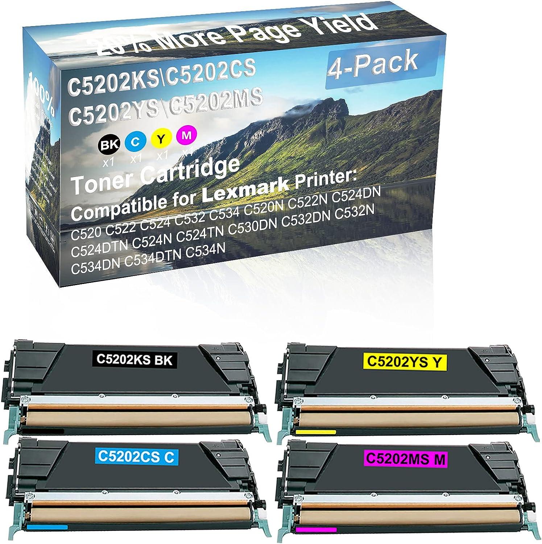 4-Pack (BK+C+Y+M) Compatible High Capacity C5202KS+ C5202CS+ C5202YS+ C5202MS Toner Cartridge Used for Lexmark C520, C522, C524, C532, C534, C520N Printer