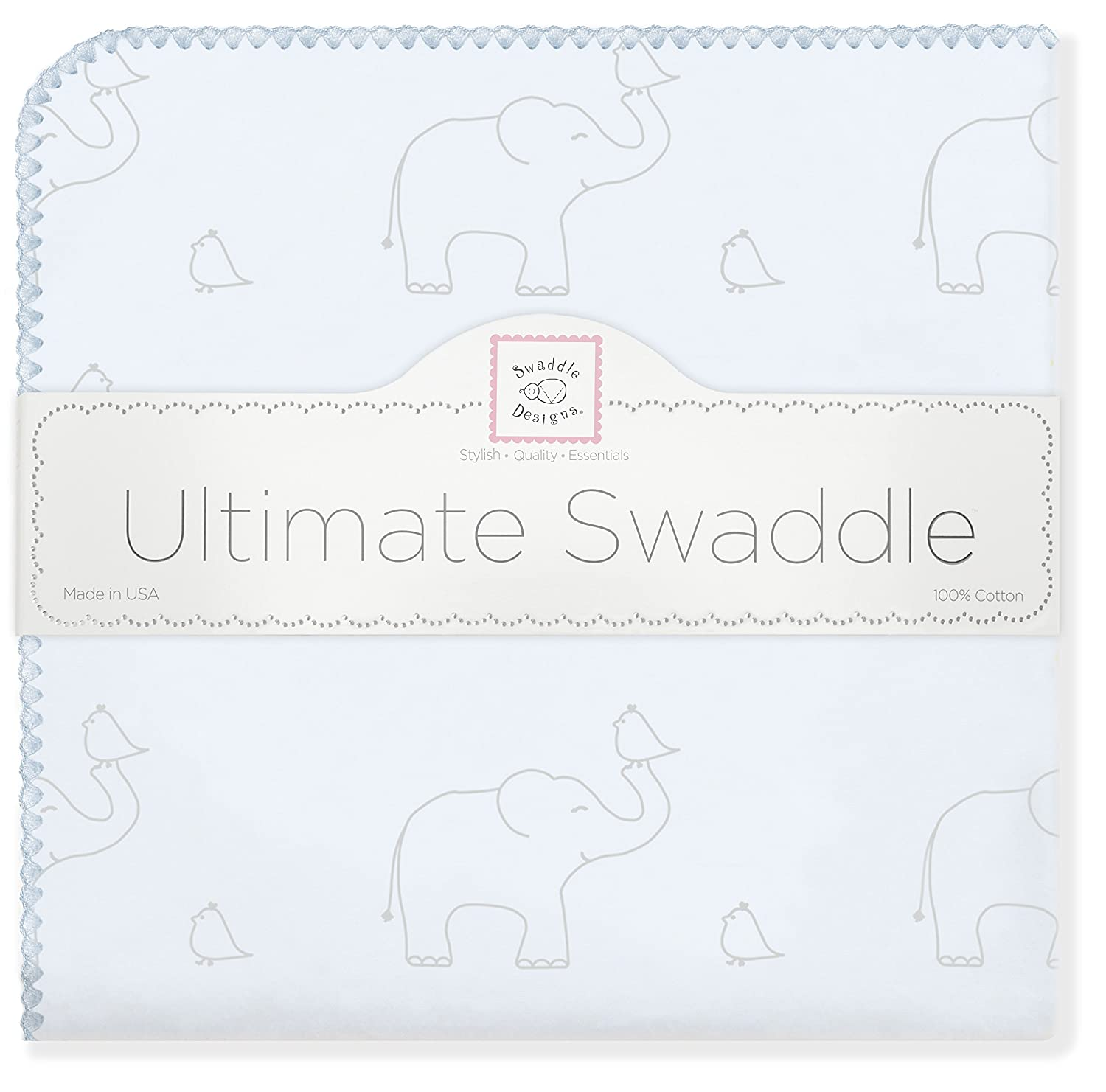 SwaddleDesigns Ultimate Winter Swaddle, X-Large Receiving Blanket, Made in USA, Premium Cotton Flannel, Sterling Deco Elephants on Sunwashed Blue (Mom's Choice Award Winner)