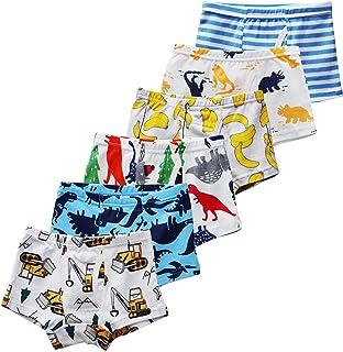 CHUNG Little Big Boys Soft Cotton + Modal Boxer Briefs Underwear 5 6 Pack Dinosaur Print 3-9Y