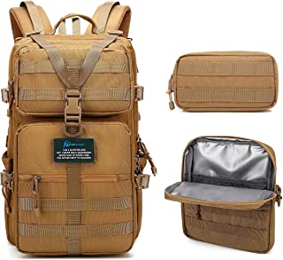 PRIMOCEAN Backpack 40L-50L, Insulated Cooler Bag, Tactical, Hiking, Lunch Box Traveling, 17-inch Laptop, Camping for Men Women, 3 in 1 Detachable, Waterproof, USB Port, Molle Fishing Hunting, School