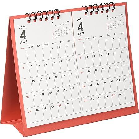 オーブ 2021年 カレンダー 4月始まり 卓上 2ヶ月 レッド TMS-800RE