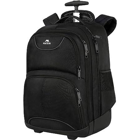 Wheeled Laptop Backpack 15.6 inch,MATEIN Rolling Laptop Rucksack, Water Resistant Wheeled Overnight Rucksack Business Travel Trolley Bag for Men Women, Black