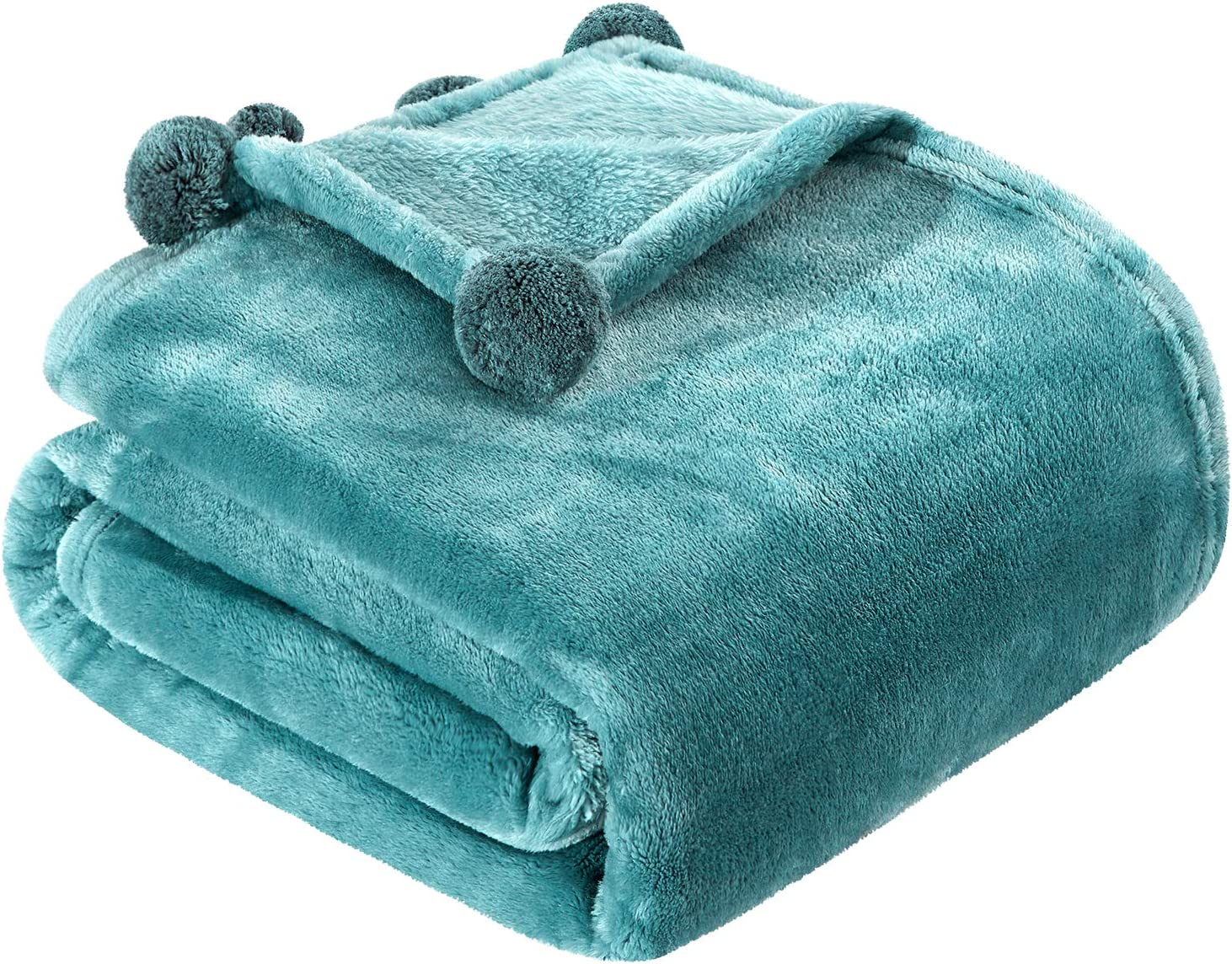 HOMEIDEASFleece Gifts Flannel ThrowBlanket Pompom New color with Fringe