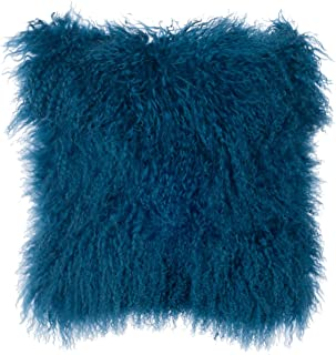 SLPR Mongolian Lamb Fur Throw Pillow Cover (20'' x 20'', Nordic Blue) | Real Fur Decorative Cushion Cover Pillow Case for Living Room Bedroom