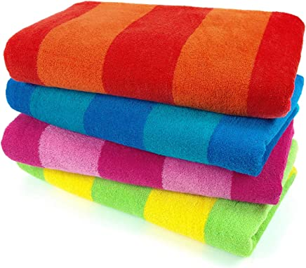 Kaufman – 100% Cotton Velour Striped Beach & Pool Towel 4-Pack – 30in