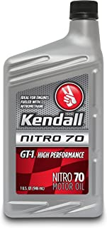 Kendall 1043073 GT-1 High Performance Nitro 70 Motor Oil for Nitromethane and Alcohol-Fueled Competition Engines - 1 Quart Bottle (Case of 12)