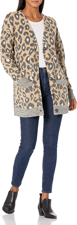 Cable Stitch Women's Oversized Leopard Print Cardigan