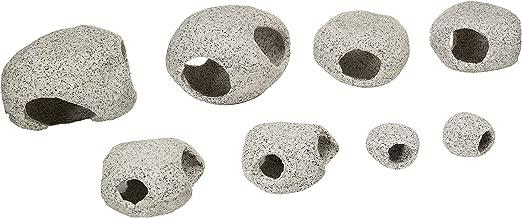 Penn-Plax Stone Replica Aquarium Decoration Realistic Granite Look with Fish Hideaway 8 Piece Set