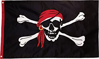 In the Breeze I'm a Jolly Roger Applique Grommet Flag, 3 by 5-Feet