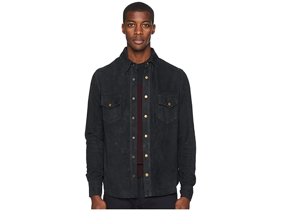 Image of Billy Reid Suede Workshirt (Charcoal) Men's Clothing