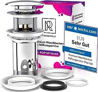 Universal Ablaufgarnitur Waschbecken Abflussgarnitur – mit Überlauf für Waschbecken & Waschtisch, Universal Chrom Pop Up Stöpsel aus Messing mit Anleitung, 4 Ersatzdichtungen, eBook