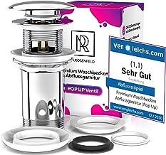Premium afvoergarnituur wastafel afvoergarnituur – met overloop voor wastafel & wastafel, universeel chroom pop-up stopper...