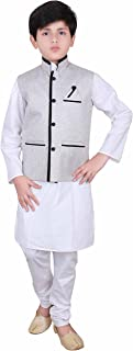Boys Indian Modi Nehru Gandhi Style Grey Waistcoats in Jute kids waistcoat 007