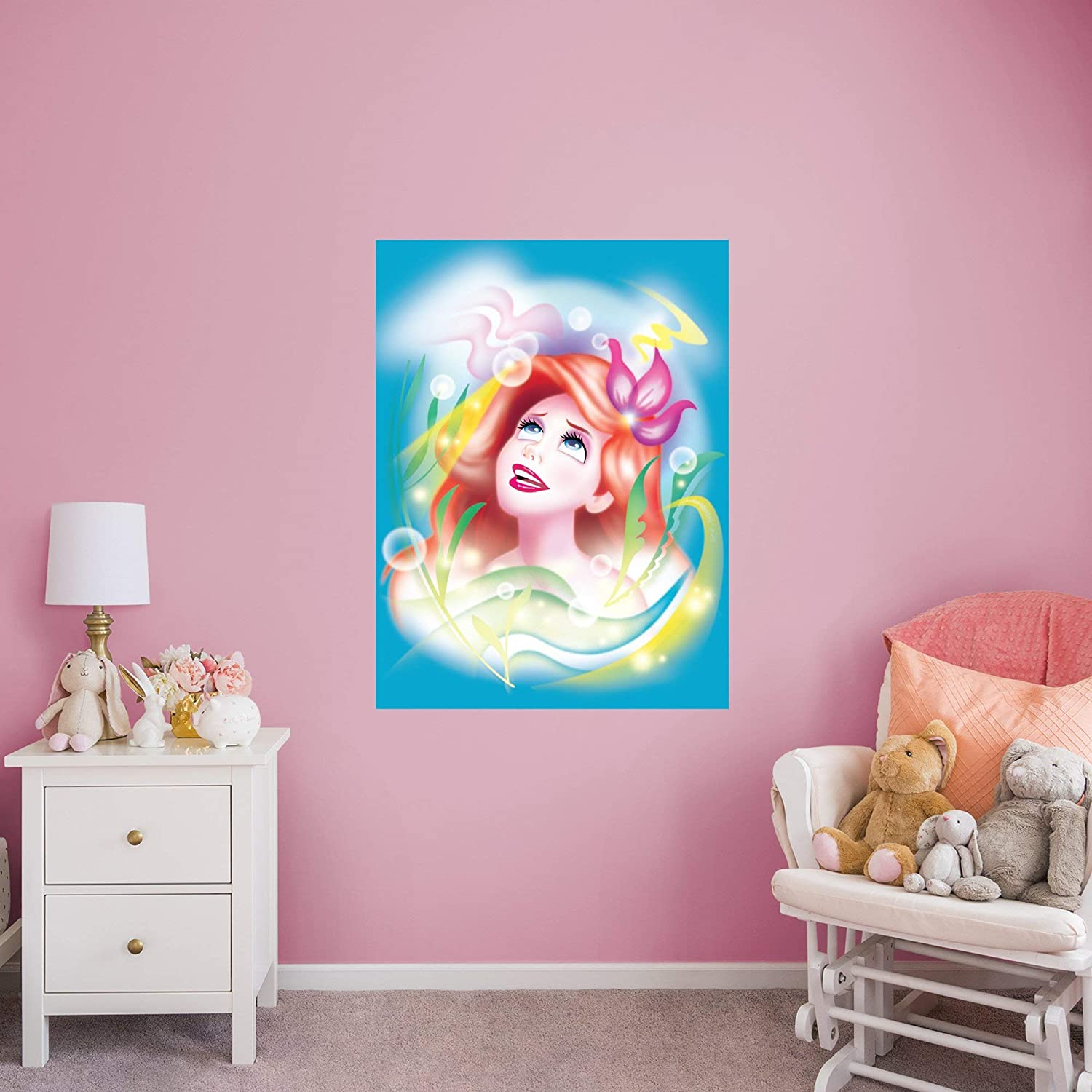 Princess Airbrush Ariel Mural - Financial sales sale Great interest Officially Disney Remov Licensed